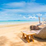 chair table dinning beach sea with blue sky 74190 6094