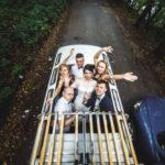 happy people car celebrating wedding 1153 2855
